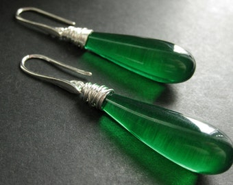 Long Earrings. Green Earrings. Extra Long Dangle Earrings Wire Wrapped Teardrop Earrings in Silver. Handmade Jewelry.