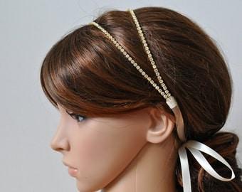 GOLD -  Double Rhinestone Ribbon Headband, Wedding Headpiece, Rhinestone, Crystal, Accessories, Bridal, Wedding, sparkle