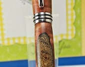 Hand turned Wooden Pen Handcrafted from Stabilized and Dyed Curly Spalted Maple Rhodium Hardware 325Q