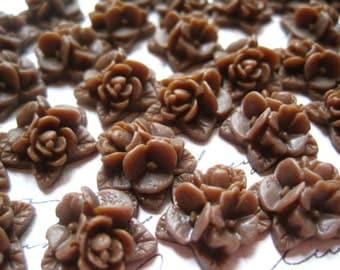 Flower Cabochon, 12 pcs Chocolate Brown Flower Cabochon, 15mm Triple Bloom Flower