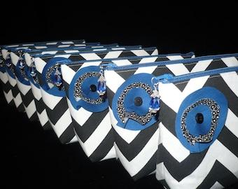 CUSTOM Bridesmaids Set of 8 Chevron Make Up/Cosmetic Jeweled bags purses, You Pick the Colors,handmade