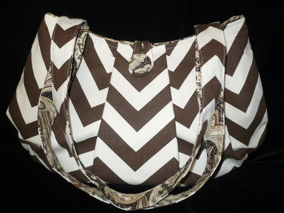 Chevron Brown Handbag Purse w Paisley, Handmade shoulder bag