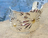 Wide Sterling Silver Cuff Bracelet with Sunflowers