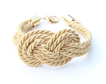 Bridesmaid gift - Beige triple Gold silk Knot Bracelet - 24k gold plated