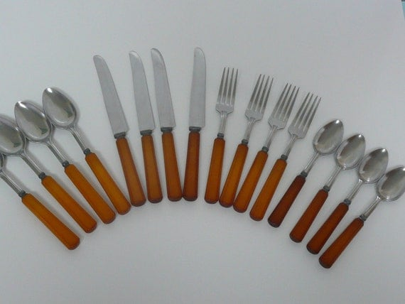 1940s Butterscotch Bakelite Flatware Silverware Set, Sixteen Pieces, Knives, Forks, Soup Spoons, Teaspoons, Art Deco Styling