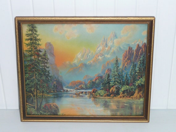 Vintage Framed Print by Stanley H. Walker, River and Mountains - Vintage Travel Trailer and Home Decor