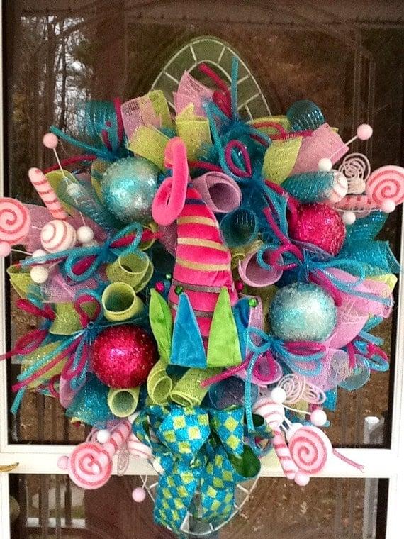 Whimsical Elf Hat Deco Mesh Christmas Wreath