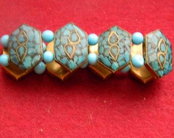 Vintage handmadeTourquoise and copper bracelet