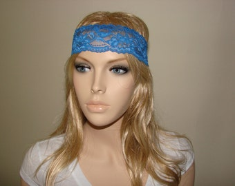 Blue wide lace headband, stretchy yoga headband, Spring Summer skinny Headband, boho flower lace headband woman fashion accessory