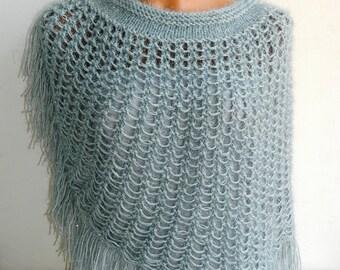 Women Shawl,silvery gray women shawl. Fashionable shawl. Personalized weave design. Stole, capelet, shawl for woman....