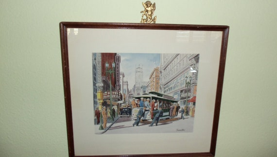 Original 1940s Frank Serratoni Watercolor of San Francisco Trolley