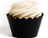 Black Cupcake Wrappers (Set of 12) - Faire Une Fete