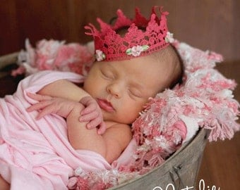 Baby lace crown, Princess pink crown photo prop, newborn photo prop, baby lace crown