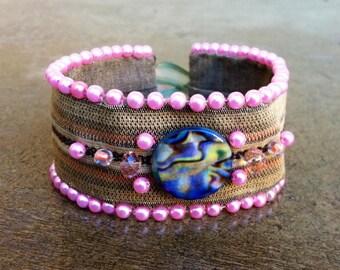 Up-Cycled Beaded Fabric Bracelet