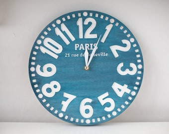 Blue Faux Vintage Clock // Bold French Cottage Chic Style for a Retro Chic Home // Housewarming gift // Customisation // Bespoken clock //
