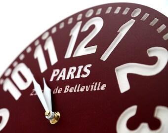 Large handmade faux vintage clock -Paris burgundy- // housewarming gift // graduation day gift // wedding registry / FREE WORLDWIDE SHIPPING
