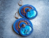 Soutache festive blue abalon shell and embroidery EARRINGS orange and fuchsia