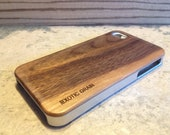 real wood IPHONE4 AND 4S case ,exotic walnut with  sharp metal looking  silver edges