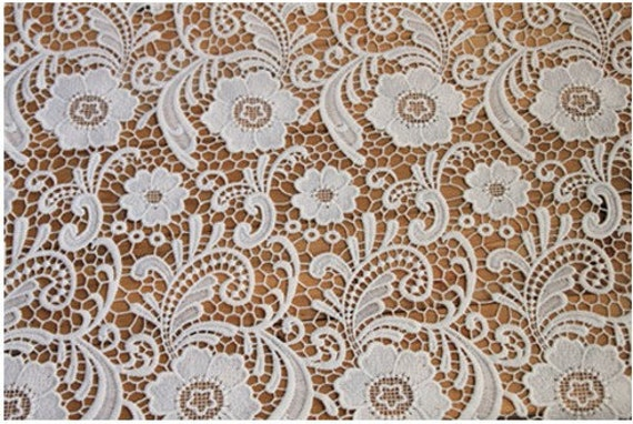 Items Similar To Wedding Crocheted Gown Lace Fabric White