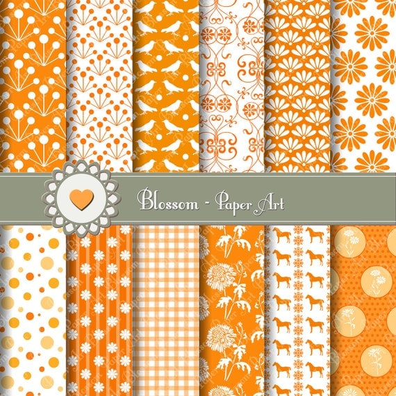 Papeles digitales naranja para imprimir para bricolage - Papel decorado para manualidades ...