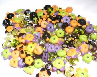 HALLOWEEN MIX - Handmade Glass Lampwork Beads - Purples Lime Green Orange Black - Set of 20