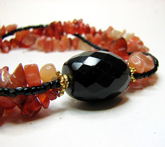Multi strand statement necklace Black onyx necklace Rust peach gemstone necklace Gemstone jewelry Multistrand beaded jewelry