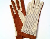 RESERVED 1960s Vintage Brown & Cream Mesh Driving Gloves - Ladies - Made in France Exclusively for Bambergers