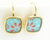 Aqua Tangerine Tango Earrings | Gold Square Flower Earrings | Mod Flower Petal Earrings