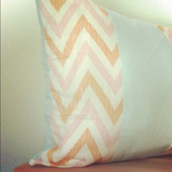 Pink and Orange chevron pillow cover, 12x18 inches, robins egg blue, modern, geometric