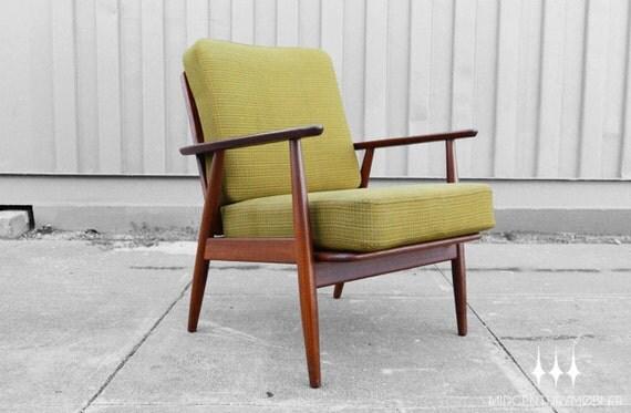 Danish Modern Mid Century Chartreuse Teak Framed Lounge Chair