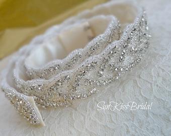 BRIANNA Braided Rhinestone Bridal Belt Finished with Hook/Eye Closure, 26 inches