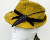 Eco fashion 1940s style fedora hat, dijon yellow with giant feather arrow and black velvet trim - by Swan&Stone Millinery