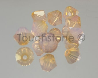 4mm Rose Water Opal Brandy Coated Swarovski Crystal Bicone Beads #45-1200