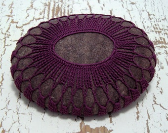 Crocheted Lace Stone, Collectible Art, Purple, Beach Art, One of a Kind, Handmade, Tiny Stitches, Unique Gift