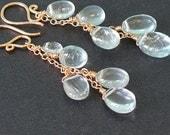 Smooth aquamarine chain earrings Princess 185
