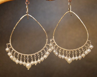 Hammered drop hoops wrapped with Ivory Pearls Cosmopolitam 87
