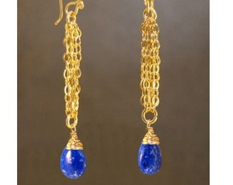 Chain earrings with Lapis Venus 103