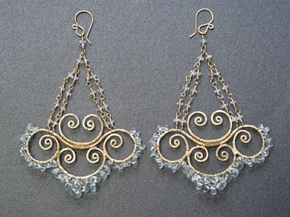 Aquamarine hammered swirl earrings Venus 148