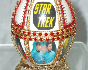 Decorated Duck Egg - Styled After a Faberge Egg Star Trek Theme 12 panel Decorated Egg - Kaleidoscope with Gemstones -