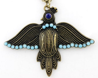 Cool Gold-tone Blue Beads Black Bird Necklace