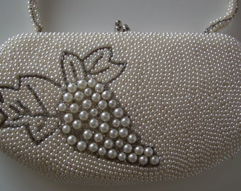 Bridal purse, ivory beaded evening handbag,1960s, wedding bag, vintage Japanese