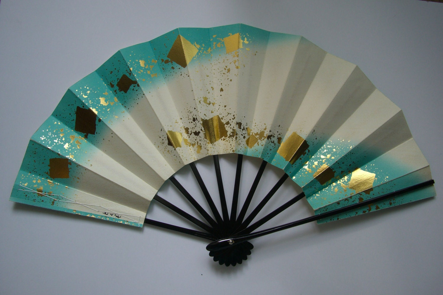 Decorative Fan Bamboo And Paper Vintage Japanese Folding Fan