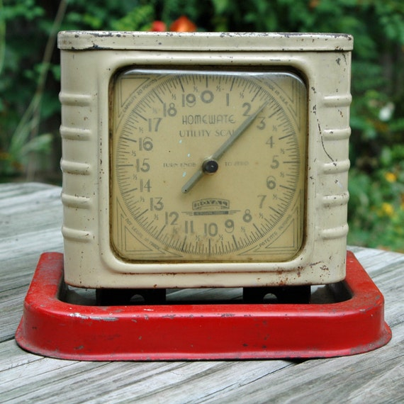 Vintage Red Art Deco Kitchen Scale Home Utility Scale