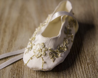Special Occasion Personalized Baby Shoes - Baptism, Christening Silk Shoes - Hand Embroidered and Beaded