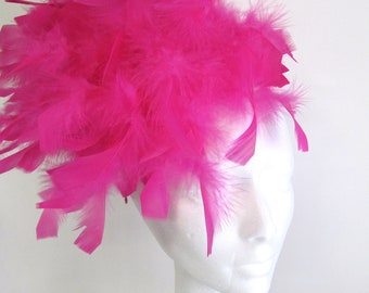 Feather Fascinator -Hot Pink- Feather Headpiece -Pink Hat- Hot Pink Fascinator - Fuschia Headpiece- Derby fascinator- Tea Party Fascinator