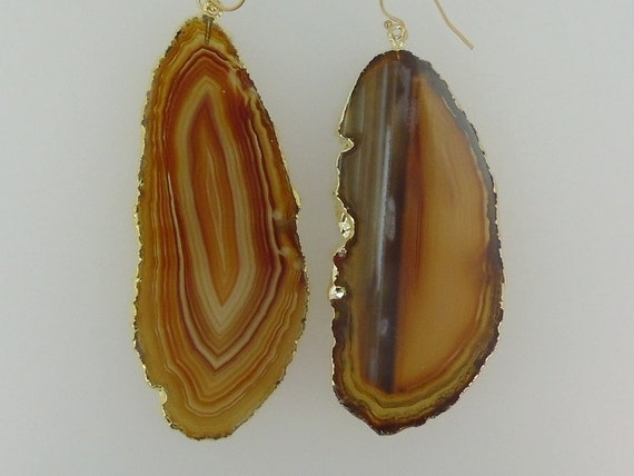Agate Slice Druzy Earrings - Druzy Crystal Edged in 14k gold - Drusy Earrings Gold Fill Earwires