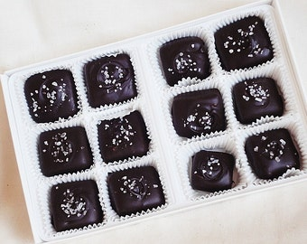 1/2 lb box (12 peices) Dark Chocolate Sea Salt Salted Caramels Candies Confections