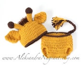 GIRAFFE BABY COSTUME -  Photo Prop  - Baby Hat and Diaper Cover - acrylic  - Made To Order