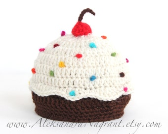 DELICIOUS CUPCAKE HAT - newborn, baby hat - wool/acrylic - Made To Order