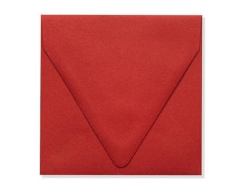 5 x 5 Square Contour Flap Envelopes - Ruby Red - Quantity of 50